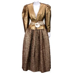Bill Blass Copper Leather and Cloque Evening Ensemble