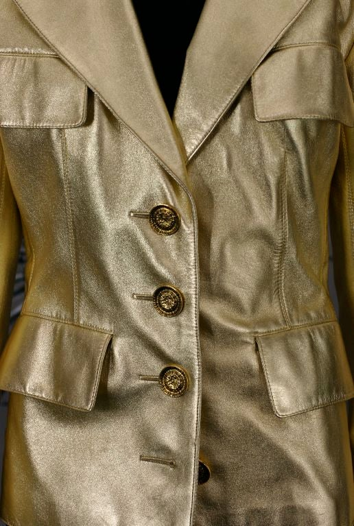 YSL Haute Couture Gold Leather Jacket In Excellent Condition For Sale In Riverdale, NY