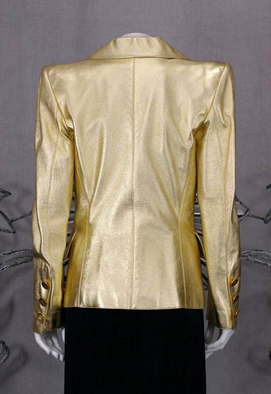 Women's YSL Haute Couture Gold Leather Jacket For Sale