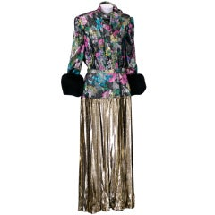 Adolfo Floral Lame and Mink Ensemble
