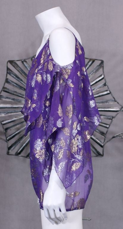 Purple Julio Lame Chiffon Handkerchief Point Evening Blouse For Sale