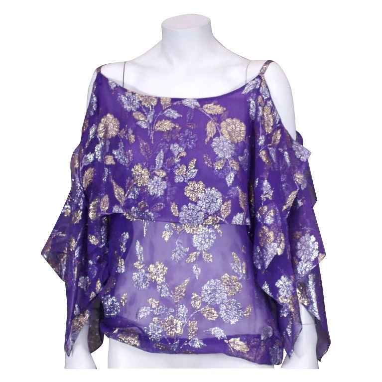Women's Julio Lame Chiffon Handkerchief Point Evening Blouse For Sale