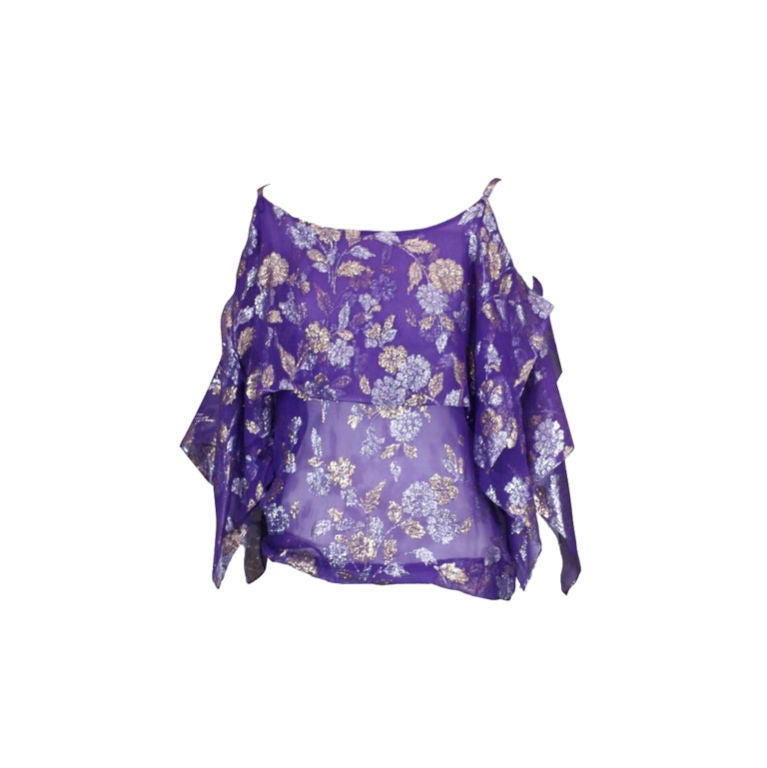 Julio Lame Chiffon Handkerchief Point Evening Blouse For Sale