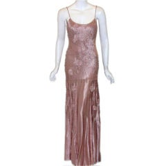 SUE WONG Pink Silk Gown, Flower Beading, Melanie Griffiths