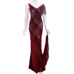 GALINDO Red Burnout Velvet Beaded Shoulder Bias Cut Gown, Melanie Griffith