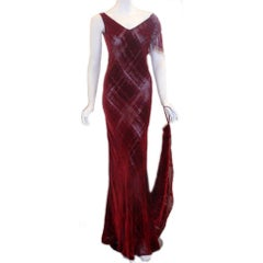 GALINDO Red Burnout Velvet Beaded Shoulder Bias Cut Gown, Melanie Griffith