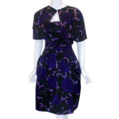 1950's MINGOLINI GUGENHEIM Purple and Black Floral Print Silk Dress Set size 2-4