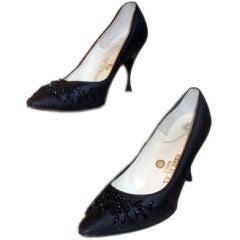 Harilela's Black Satin Beaded Pumps, Circa 1960