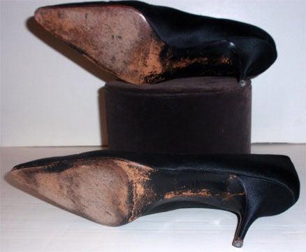 "Charles Jordan ""Daphne"" Black satin Pumps w/ Black Rhinestones, c. 1950's 9"