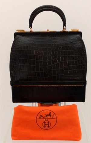 6bd92 f9cbf  italy hermes black alligator jewelry box handbag circa 1950  for sale 3 c5116 44d45 d1d54c2e4d714