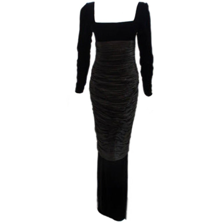 Christian Dior Couture Black Velvet Evening Gown,  Betsy Bloomingdale 1984