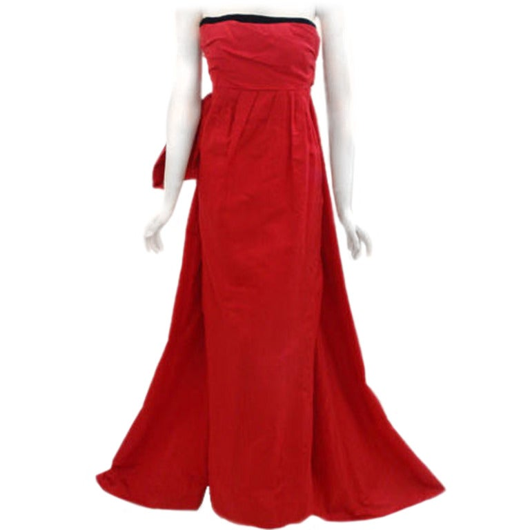 Christian dior haute couture red strapless gown circa for Dior couture dress price