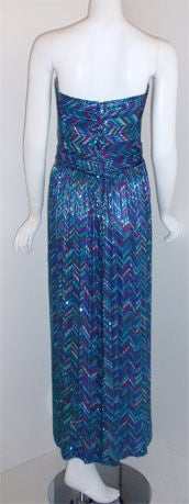 Women's Bob Mackie Strapless Beaded Gown, Circa 1980 For Sale