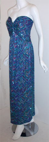 Blue Bob Mackie Strapless Beaded Gown, Circa 1980 For Sale