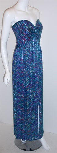 Bob Mackie Strapless Beaded Gown, Circa 1980 In Excellent Condition For Sale In Los Angeles, CA
