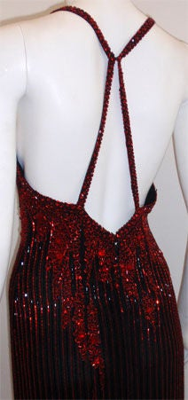 Bob Mackie Dramatic Black Chiffon Gown with Red Beading, Circa 1980's For Sale 3