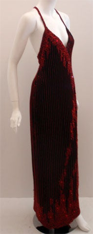 Bob Mackie Dramatic Black Chiffon Gown with Red Beading, Circa 1980's In Excellent Condition For Sale In Los Angeles, CA