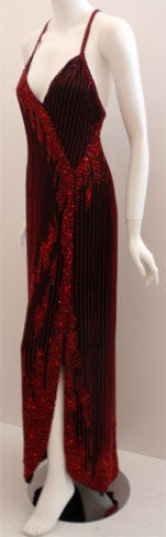 Women's Bob Mackie Dramatic Black Chiffon Gown with Red Beading, Circa 1980's For Sale