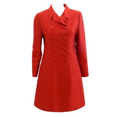 Prada Red Double Breasted Silk Coat, Circa 2005