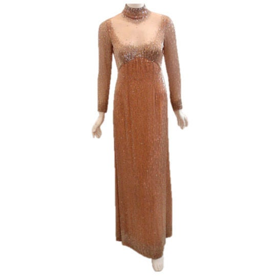 Bob Mackie Peach Chiffon Gown with Silver Beading, Circa 1970's 1