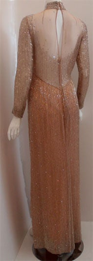 Bob Mackie Peach Chiffon Gown with Silver Beading, Circa 1970's 4