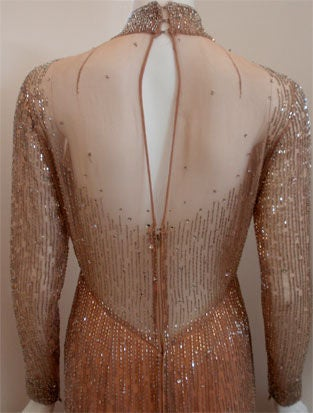Bob Mackie Peach Chiffon Gown with Silver Beading, Circa 1970's 8