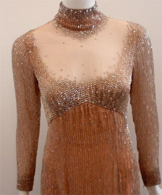 Bob Mackie Peach Chiffon Gown with Silver Beading, Circa 1970's 5