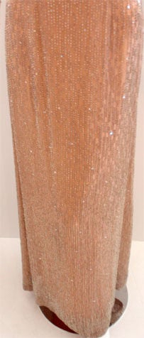 Bob Mackie Peach Chiffon Gown with Silver Beading, Circa 1970's 9