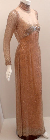 Bob Mackie Peach Chiffon Gown with Silver Beading, Circa 1970's 3