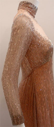 Bob Mackie Peach Chiffon Gown with Silver Beading, Circa 1970's 6