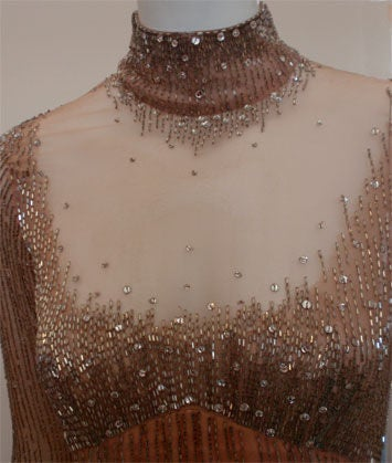 Bob Mackie Peach Chiffon Gown with Silver Beading, Circa 1970's 7