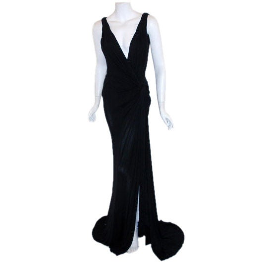 Gianni Versace Couture Long Black Evening Gown, Circa 2000 1