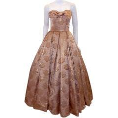 Don Loper Gold Floral Print Ball Gown, Circa 1950