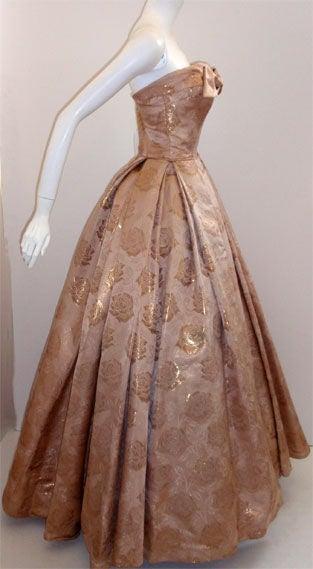 Don Loper Gold Floral Print Ball Gown Circa 1950 At 1stdibs