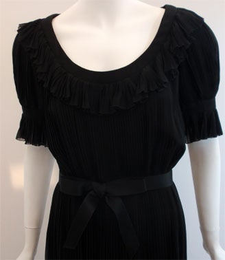 Christian Dior Haute Couture Pleated Chiffon Gown, Betsy Bloomingdale 1974 For Sale 1