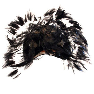 Christian Dior Hat with Velvet and Feathers 1
