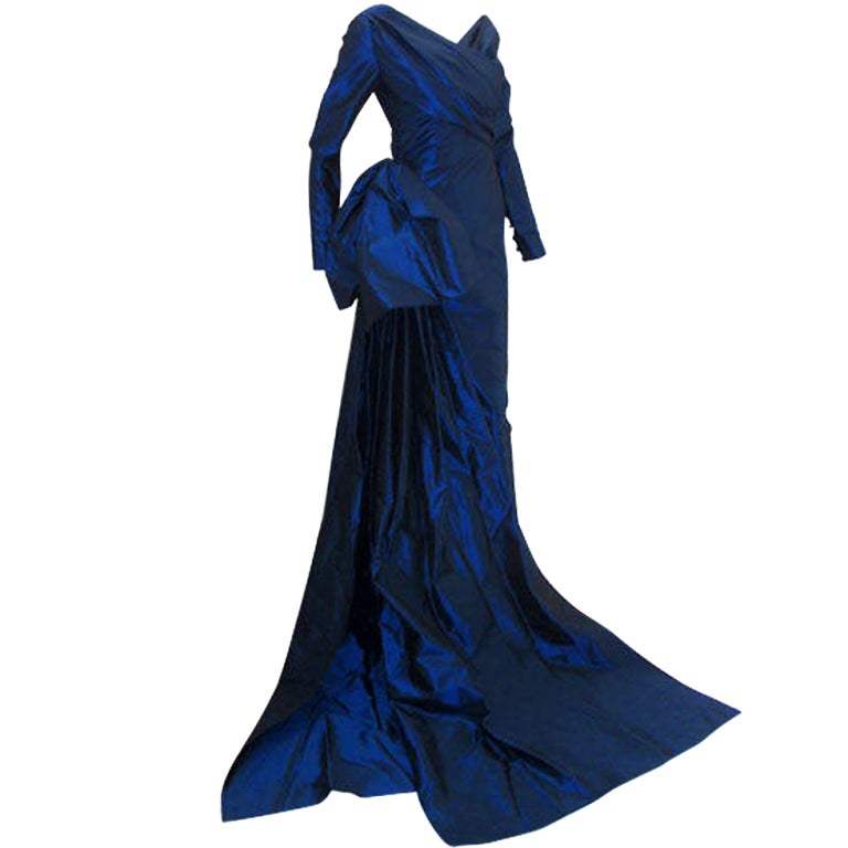 Christian Dior Haute Couture Long Blue Gown Provenance Betsey Bloomingdale 1988 For Sale