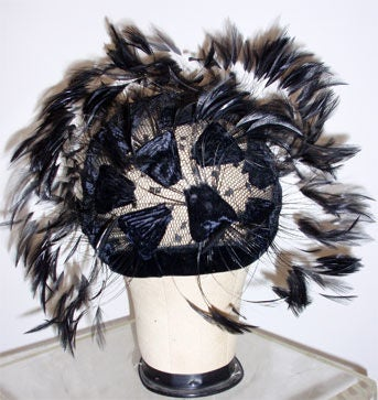 Christian Dior Hat with Velvet and Feathers 5
