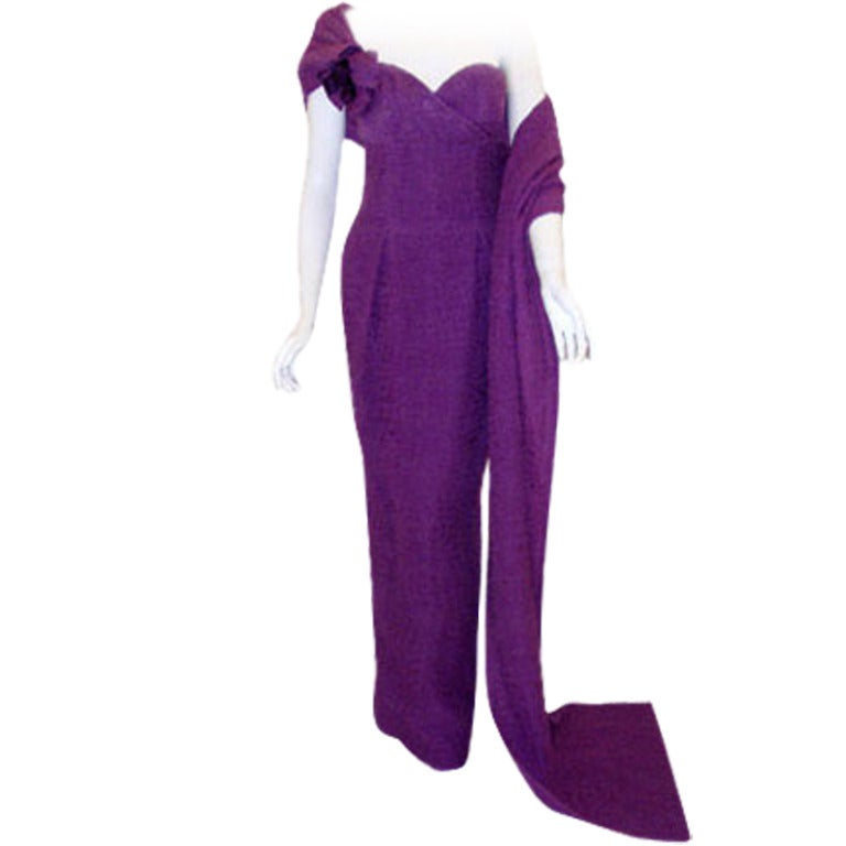 Christian Dior Haute Couture Purple Crinkle Chiffon Gown Betsy Bloomingdale 1988
