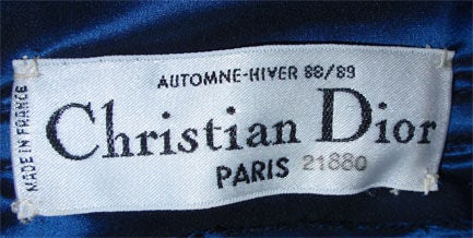 Black Christian Dior Haute Couture Long Blue Gown Provenance Betsey Bloomingdale 1988 For Sale