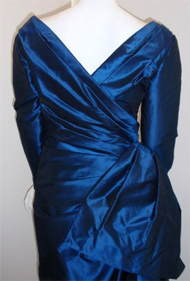 Christian Dior Haute Couture Long Blue Gown Provenance Betsey Bloomingdale 1988 For Sale 3