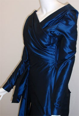 Christian Dior Haute Couture Long Blue Gown Provenance Betsey Bloomingdale 1988 For Sale 2