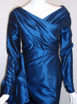 Women's Christian Dior Haute Couture Long Blue Gown Provenance Betsey Bloomingdale 1988 For Sale
