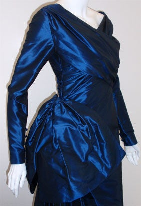 Christian Dior Haute Couture Long Blue Gown Provenance Betsey Bloomingdale 1988 For Sale 1