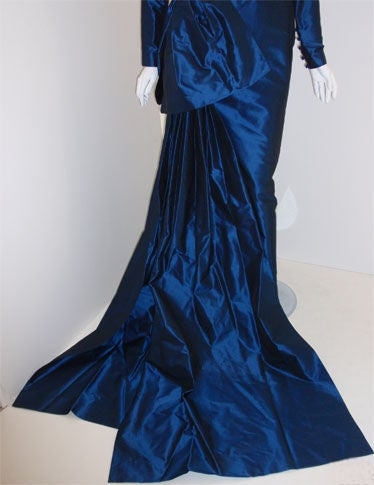 Christian Dior Haute Couture Long Blue Gown Provenance Betsey Bloomingdale 1988 For Sale 4