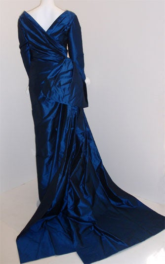 Christian Dior Haute Couture Long Blue Gown Provenance Betsey Bloomingdale 1988 In Excellent Condition For Sale In Los Angeles, CA