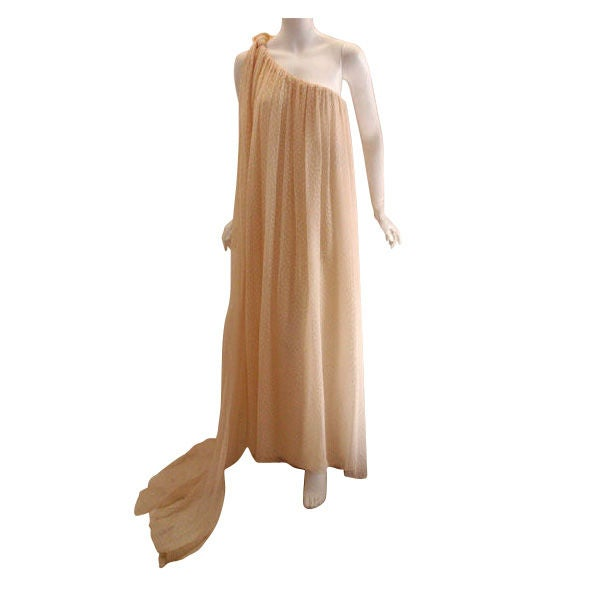 Christian dior haute couture cream chiffon gown circa for Dior couture dress price
