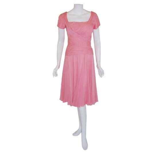 Ceil Chapman Pink Chiffon Draped Pin Tucked Bodice Cocktail Dress, 1960's