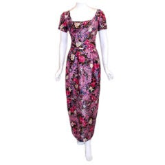 Ceil Chapman Long Pink Silk Floral Print Drape Waist Gown , Circa 1940's
