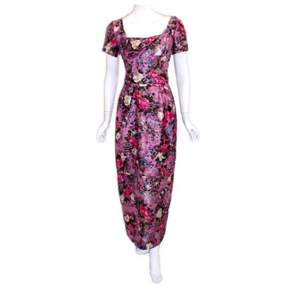 Ceil Chapman Long Pink Silk Floral Print Drape Waist Gown , Circa 1940's 1